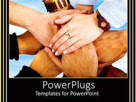 PowerPoint template displaying many hands placed together as a symbol of teamwork