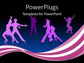 Audience pleasing presentation theme featuring many happy dancing people with black background, celebration party