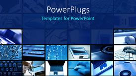 PowerPoint template displaying lots of tiles with different images all in blue color