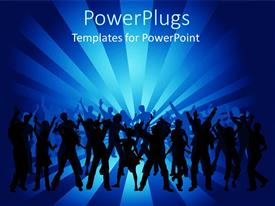 PowerPlugs: PowerPoint template with many people dancing in night club with blue background