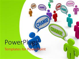 PowerPlugs: PowerPoint template with nine multicolored 3D characters spelling out the word 'change'
