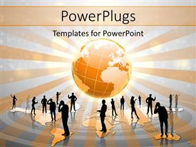 PowerPlugs: PowerPoint template with many silhouettes of people standing on gold world map with globe in background