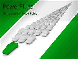 PowerPlugs: PowerPoint template with many white car models with green car in front on white background