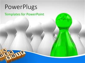 PowerPlugs: PowerPoint template with lots of white figures with a green one in between