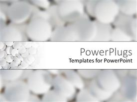 PowerPoint template displaying so many white pharmaceutical tablets