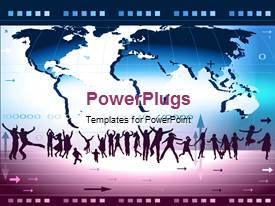 PowerPlugs: PowerPoint template with a map in the background with a number of dancing people