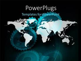 PowerPlugs: PowerPoint template with a map in the background with a number of gears