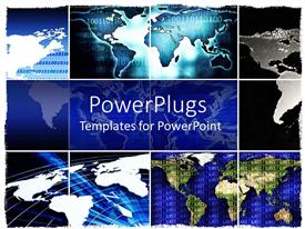 PowerPlugs: PowerPoint template with the map of the Earth being divided into various frames