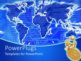 PowerPlugs: PowerPoint template with the map of the Earth with binary numbers in the background