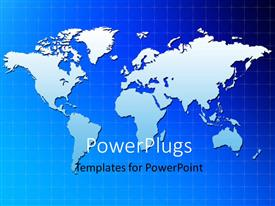 PowerPlugs: PowerPoint template with the map of the Earth with bluish background
