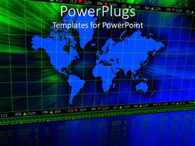 PowerPlugs: PowerPoint template with a map of the the Earth in bluish color