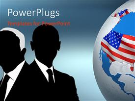 PowerPlugs: PowerPoint template with uSA presidential election concept with flag on globe and candidates