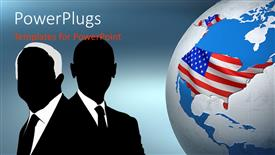 PowerPoint template displaying uSA presidential election concept with flag on globe and candidates