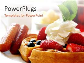 PowerPoint template displaying maple syrup, waffles with whipped cream and strawberries on desk