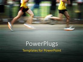 PowerPlugs: PowerPoint template with marathon runners concept with motion blur effect