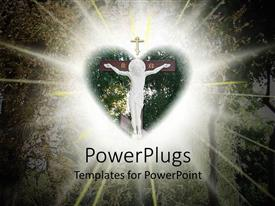 PowerPoint template displaying marble statue of Jesus on cross in heart shape