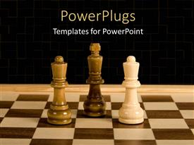 PowerPlugs: PowerPoint template with marbles chess board with white queen against black king and queen