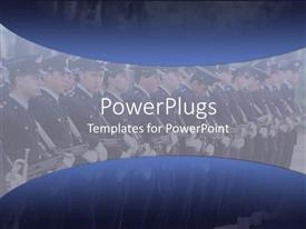 PowerPoint template displaying marine band wearing dress uniforms in parade