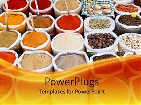 PowerPlugs: PowerPoint template with market with colorful powders, cereals and spices