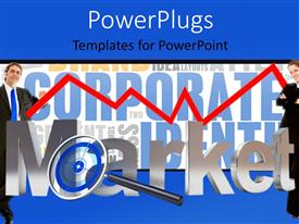 PowerPlugs: PowerPoint template with two corporately dressed people with a text that spell out the word 'market'