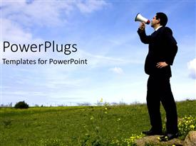 PowerPlugs: PowerPoint template with marketing, advertising, communications metaphor with business man holding megaphone standing in field