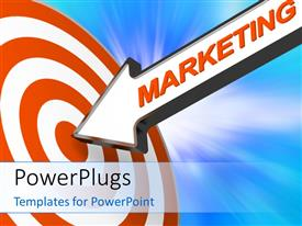 PowerPoint template displaying the marketing arrow hitting the target with zoom effect in background