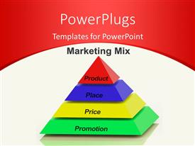PowerPlugs: PowerPoint template with marketing Mix Pyramid With keywords such as Place, Price, Product, and Promotion
