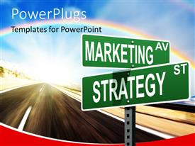 PowerPlugs: PowerPoint template with marketing and strategy signpost on a road with sky and rainbow in background