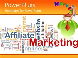 PowerPlugs: PowerPoint template with marketing theme design with depiction of 3D figure with open head and word marketing coming from his head and word cloud with marketing related words