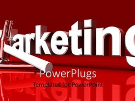 PowerPlugs: PowerPoint template with marketing word with hammer and wrench on red background