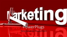 PowerPoint template displaying marketing word with hammer and wrench on red background