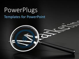 PowerPlugs: PowerPoint template with a blackish background with a magnifying glass