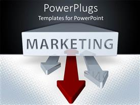 PowerPlugs: PowerPoint template with marketing word printed on a white block and three double sided arrows, two gray arrows and a red arrow on a black and white background