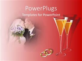 PowerPlugs: PowerPoint template with married couple kissing next to two champagne glasses and two gold rings