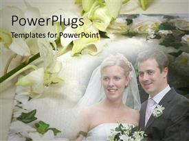 PowerPlugs: PowerPoint template with married couple at wedding, bride and groom smiling, bride with flower bouquet, flowers framing couple getting married