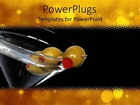 PowerPoint template displaying martini glass with three olives, gold lights