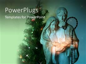 PowerPoint template displaying mary and Jesus with Christmas tree in background