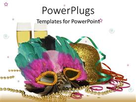 PowerPoint template displaying masquerade masks with beads and two champagne glasses in white background