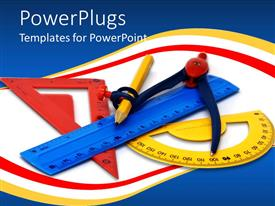 PowerPoint template displaying math tools with yellow, red, blue geometry set, ruler, bevel, protractor, math compass