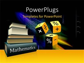 PowerPlugs: PowerPoint template with mathematical books and three cubes with mathematical symbols on it