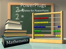 PowerPlugs: PowerPoint template with mathematics books and Abacus in front of a chalkboard used to solve simple calculations