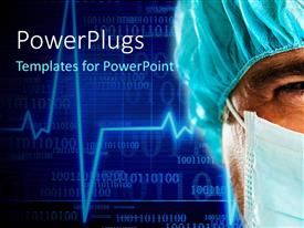 PowerPlugs: PowerPoint template with a surgeon with bluish background and place for text