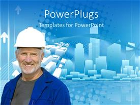 PowerPlugs: PowerPoint template with matured elderly construction worker in blue overall smiling happily