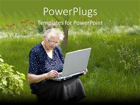 PowerPlugs: PowerPoint template with matured elderly lady sitting in a park with a laptop