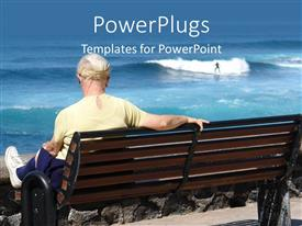 PowerPlugs: PowerPoint template with matured lady sitting on a beach bench watching a man surfing