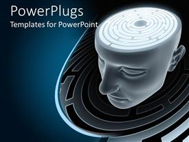 PowerPlugs: PowerPoint template with maze inside of a human head, thinking, confusion, problem solving, mind, brain power