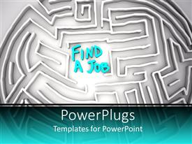 PowerPlugs: PowerPoint template with a maze with a word find a job