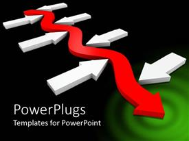 PowerPoint template displaying meandering red arrow between straight white arrows on black background