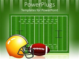 PowerPlugs: PowerPoint template with the measurement of the rugby field along with a helmet and football