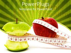 PowerPoint template displaying measuring tape around green apple core and untouched red apple